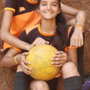Sports Khushi Dubey and Muskan Dubey football girl